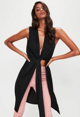 Black Tie Front Longline Blouse