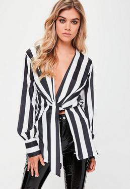 White Striped Sheer Wrap Front Blouse