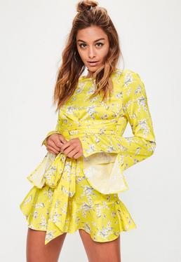 Yellow Floral Print Flared Sleeve Blouse