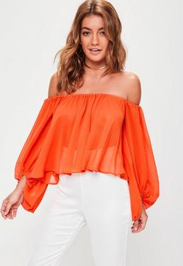 Orange Balloon Sleeve Bardot Crop Top