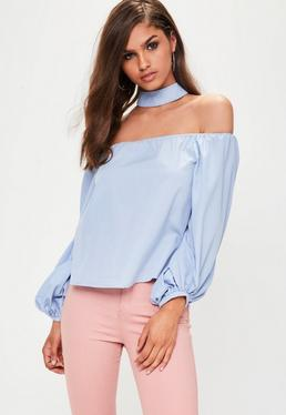 Blue Choker Balloon Sleeve Bardot Top