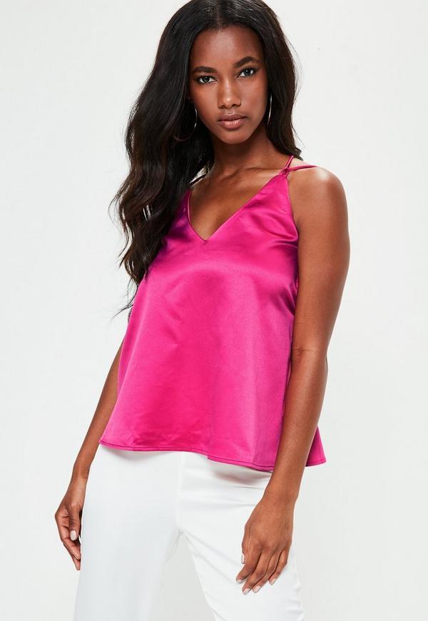 Pink Cross Back Cami Top