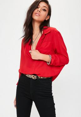 Red Sheer Oversized Shirt