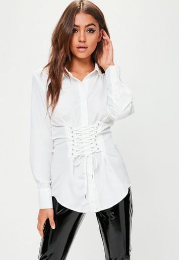 White Corset Detail Shirt | Missguided