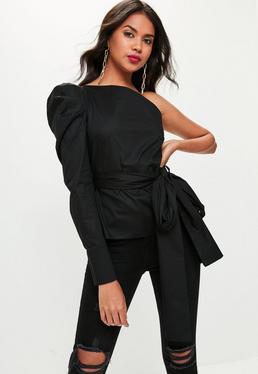 Black Deconstructed One Shoulder Shirt