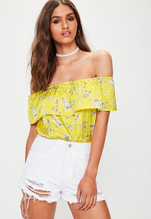 Yellow Printed Bardot Bodysuit
