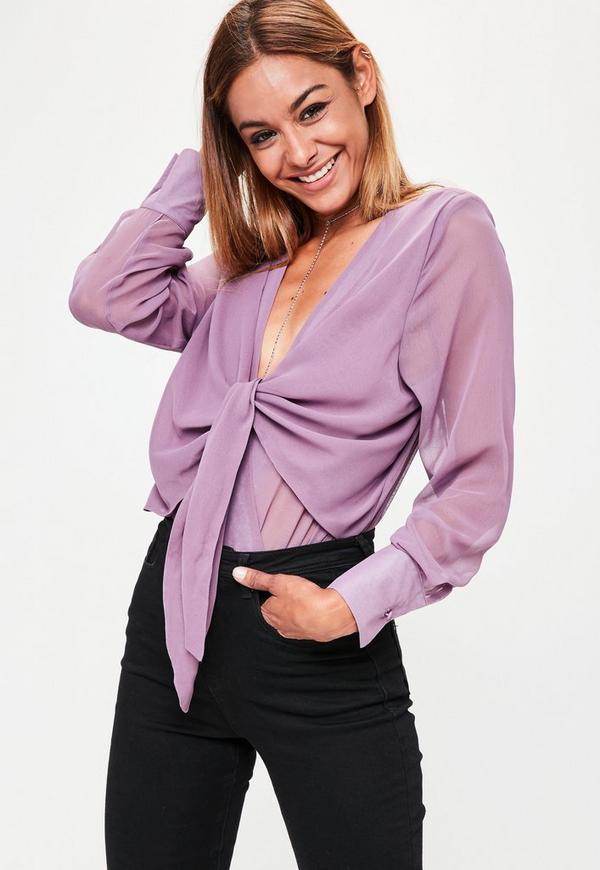 Purple Long Sleeved Tie Front Bodysuit
