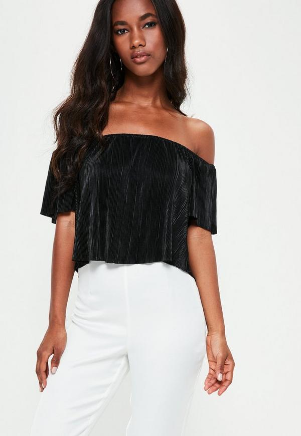 Black Crinkle Bardot Crop Top