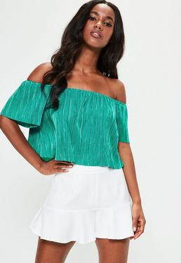 Green Crinkle Bardot Crop Top