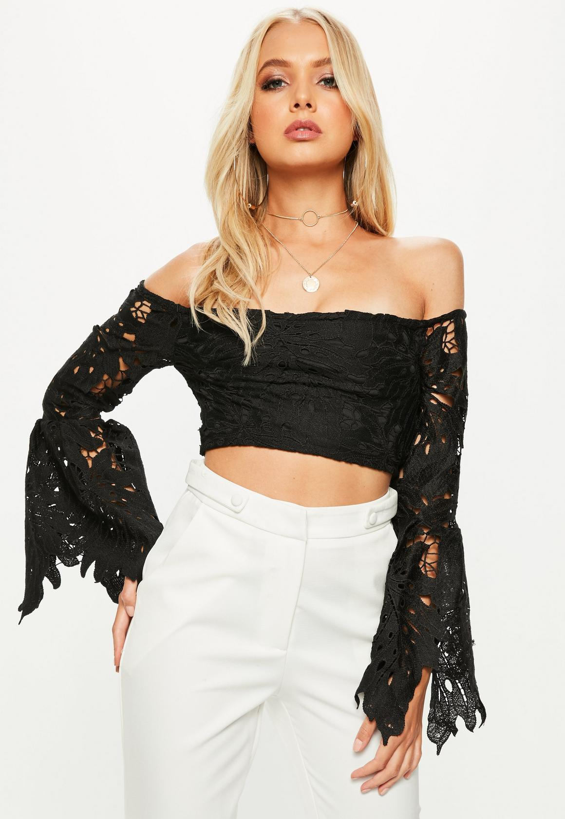 Black Lace Bardot Crop Top | Missguided