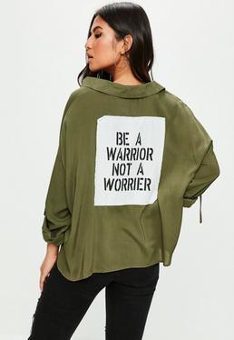 Khaki Contrasting Slogan Detail Shirt