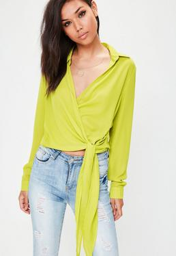 Green Wrap Over Tie Side Blouse