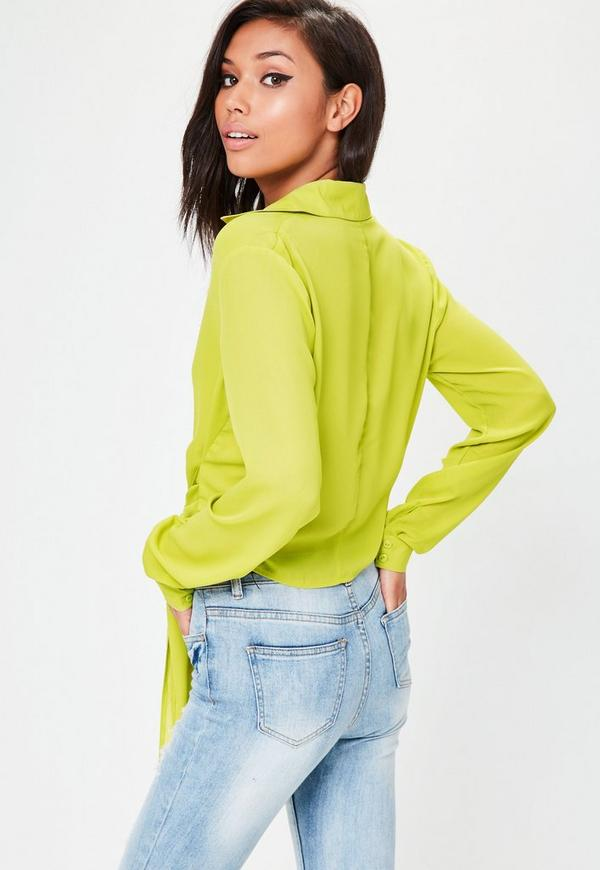 Green Wrap Over Tie Side Blouse Missguided