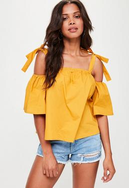 Yellow Supported Bardot Top