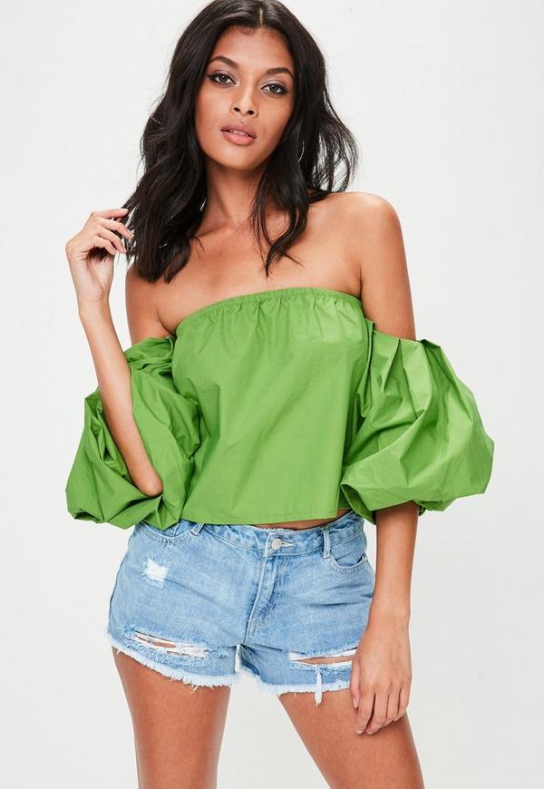 Green Balloon Sleeve Bardot Top