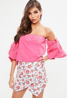 Pink Balloon Sleeve Bardot Top
