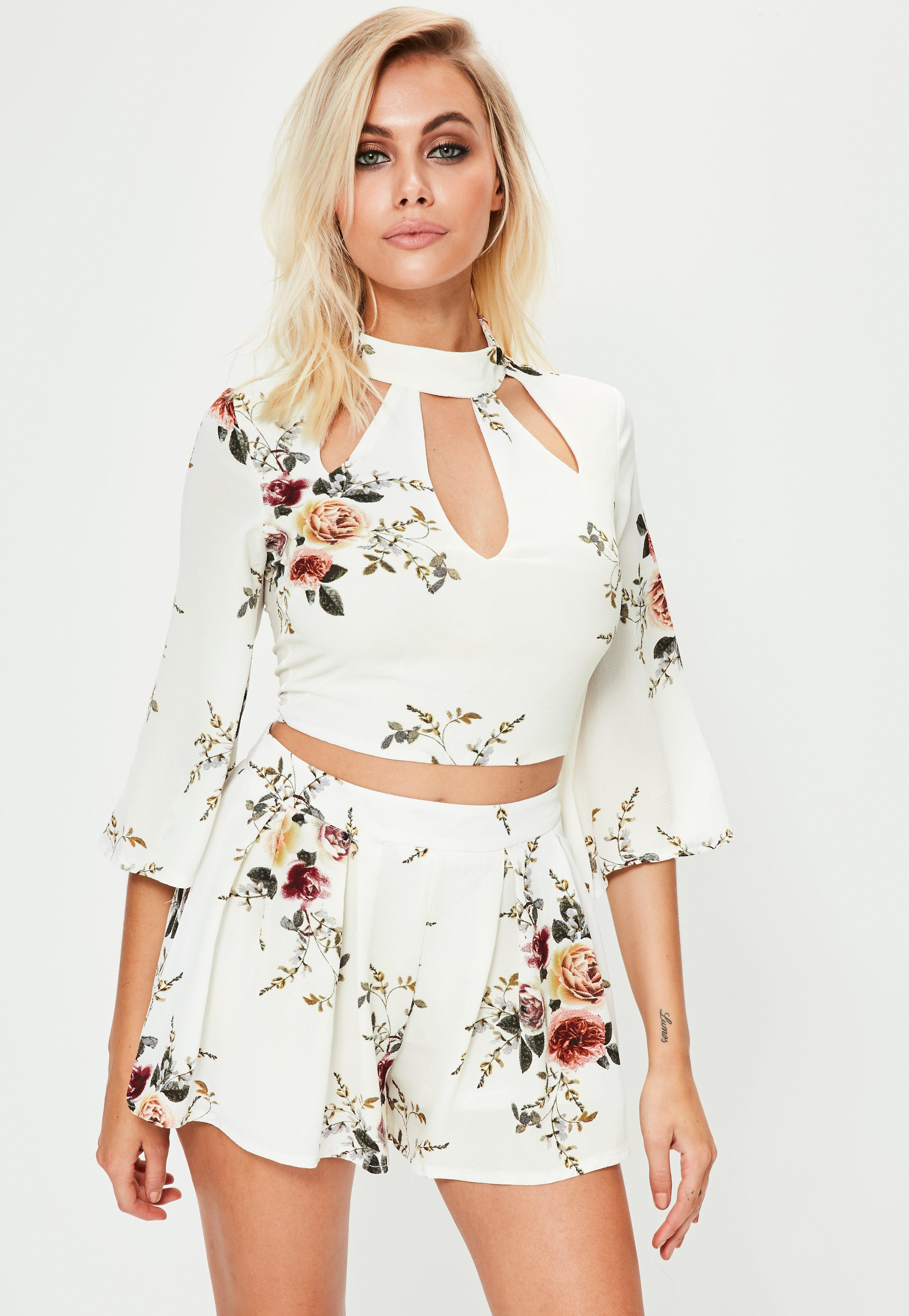 White Floral Crop Top Missguided