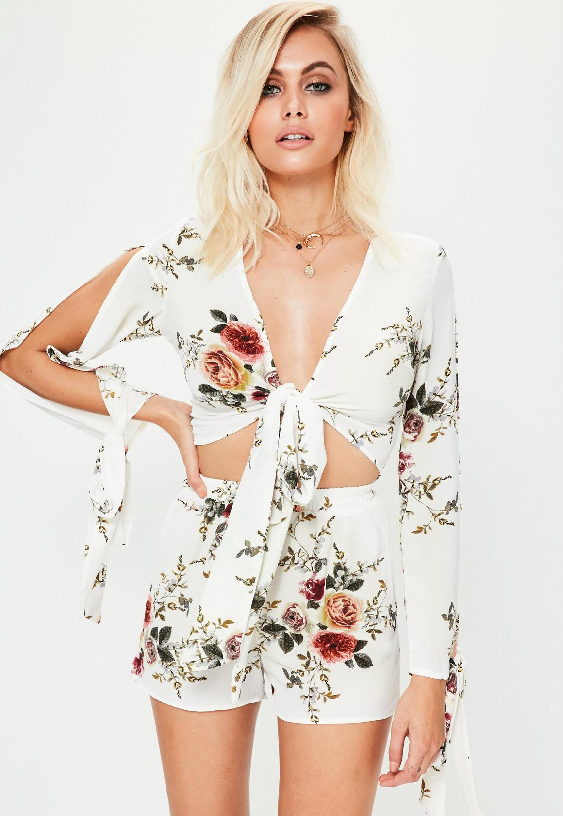 White floral tie front crop top missguided ireland white floral tie front crop top mightylinksfo