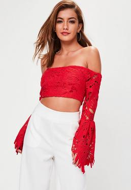 Red Lace Bardot Crop Top
