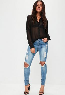 Black Sheer Button Through Oversized Shirt