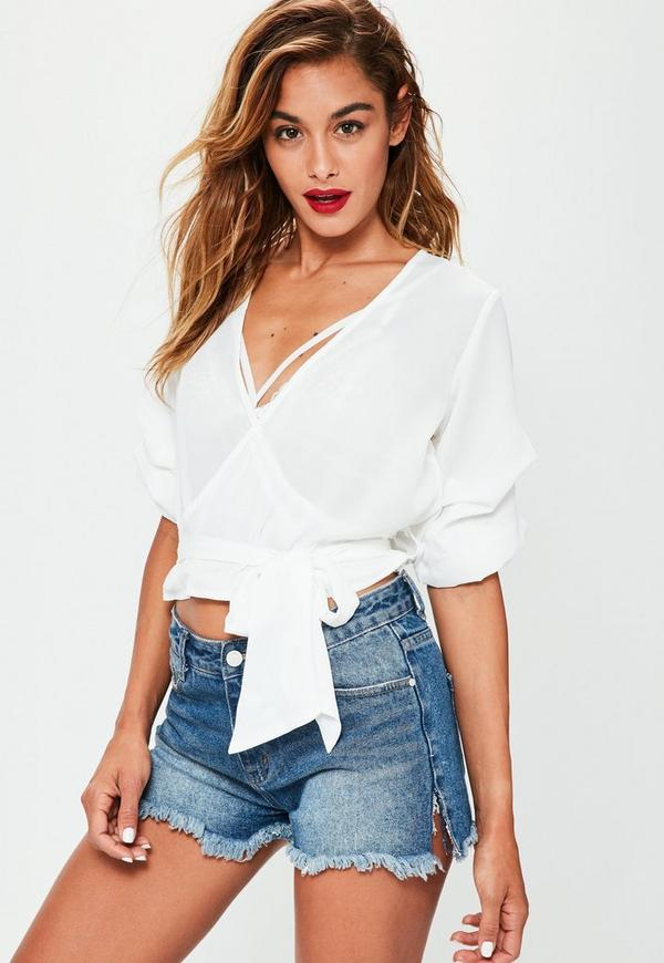 White Ruched Sleeve Wrap Over Blouse