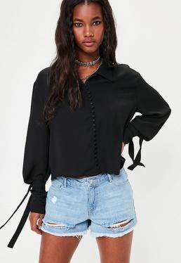 Schwarze Bluse mit Schleifen Bund