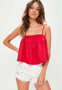 Red Supported Bandeau Crop Top