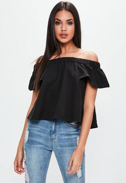Black Bardot Short Sleeve Top
