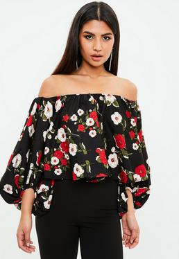 Floral Printed Balloon Sleeve Blouse