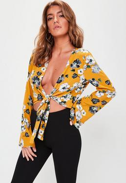 Yellow Knot Front Floral Blouse