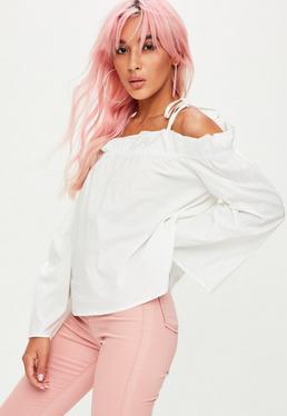 White Paperbag Bardot Blouse