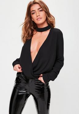 Black Wrap Front Drape Blouse