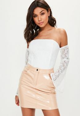 White Bardot Lace Bodysuit