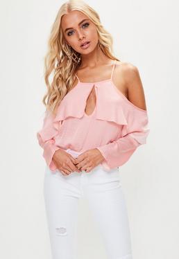 Pink Frill Cold Shoulder Bodysuit