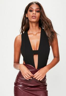 Black Tab Cut Out Bodysuit