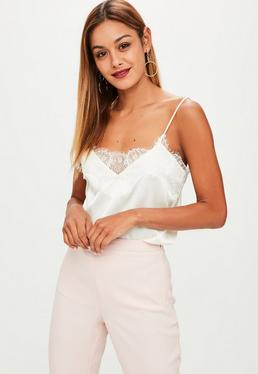 Cream Lace Trim Cami Top