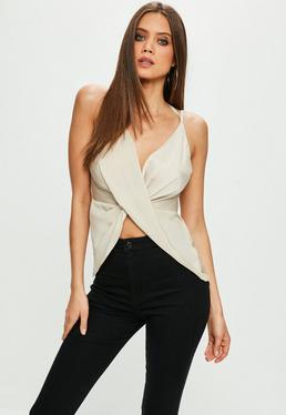 Grey Satin Twist Over Cami Top
