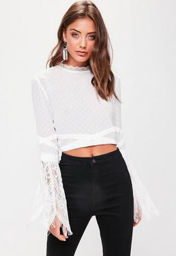 White Mesh Lace Sleeve Crop Top