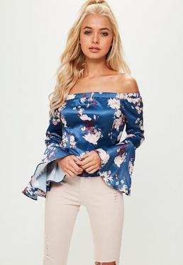 Blue Floral Bardot Flared Sleeve Peplum Hem Top