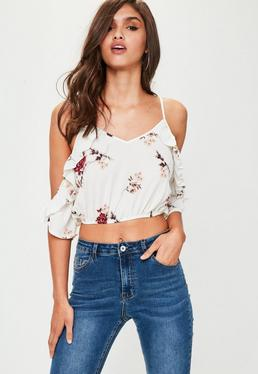 White Floral Print Frill Crop Top