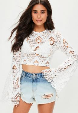 White Lace Flare Sleeve Crop Top