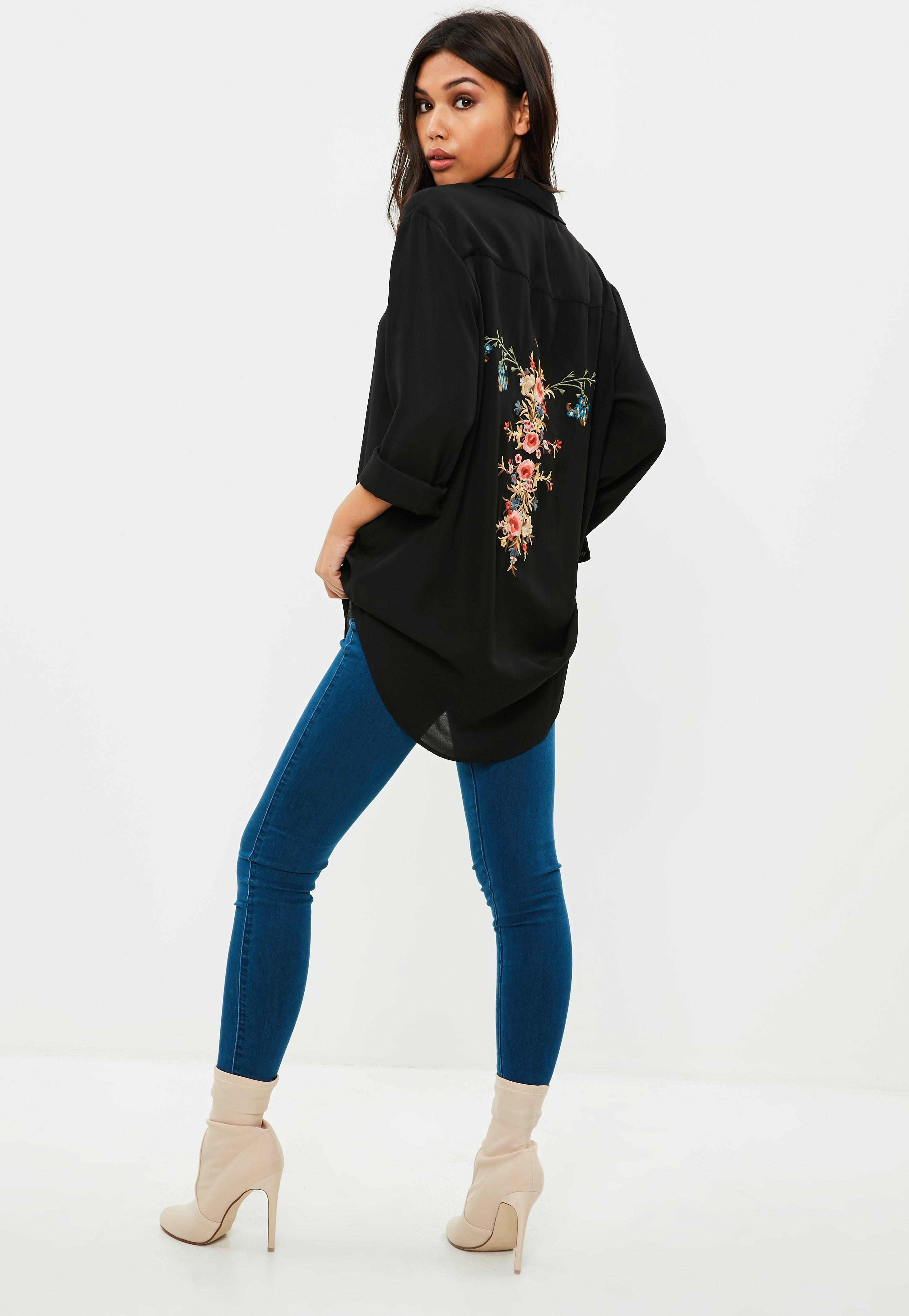 Missguided Chiffon Embroidered Shirt 2018 Unisex Cheap Price 4nGQa