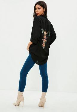 Black Chiffon Embroidered Shirt