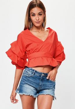 Red Wrap Gathered Sleeve Blouse