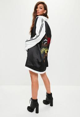 Black Satin Embroidered Stripe Sleeve Kimono Jacket