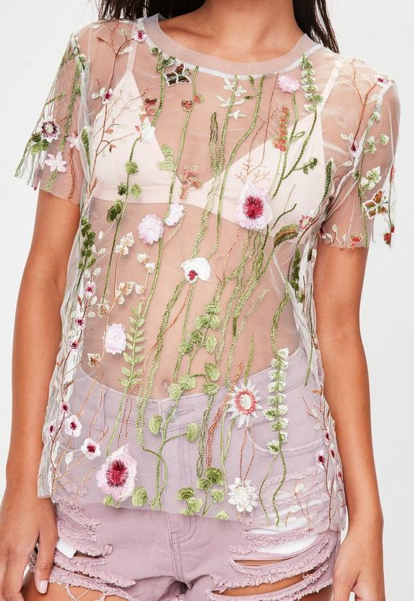 White mesh floral embroidered oversized t shirt missguided for Embroidered mesh t shirt