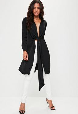 Black Hammered Satin Twist Front Longline Shirt