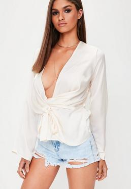 Cream Satin Drape Blouse