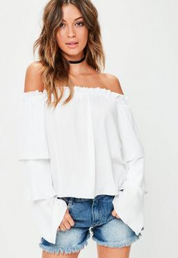 White Tiered Sleeve Bardot Blouse