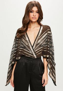 Peace + Love Black Kimono Embellished Bodysuit